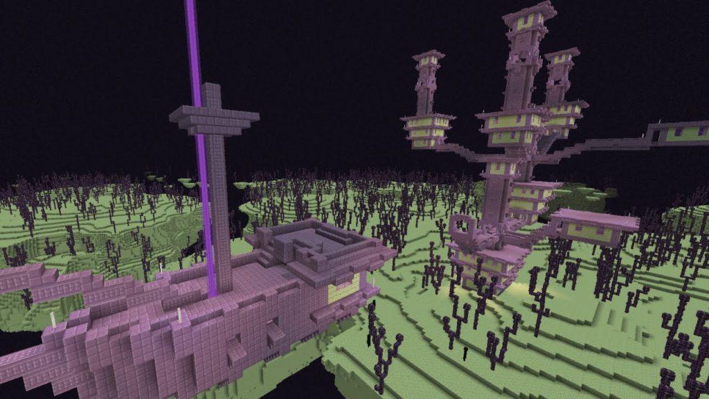 Строения из пурпурного блока Майнкрафт