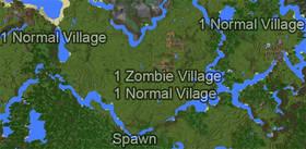 1606599678: Четыре деревни возле спавна | Сид Minecraft PE