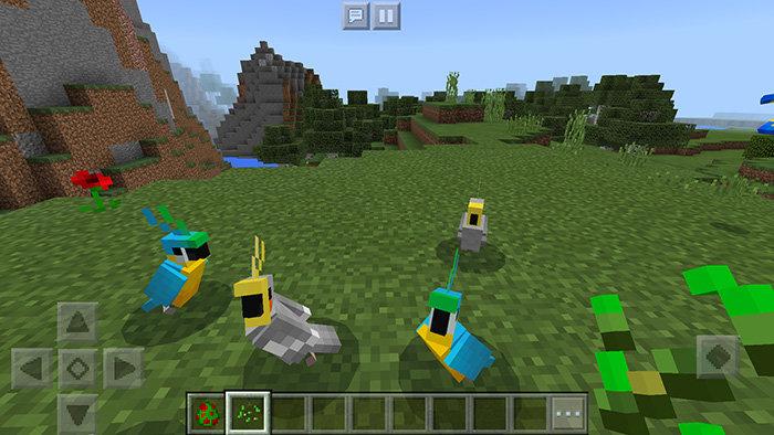 Попугаи в Minecraft PE 1.2